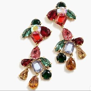 J Crew crystal cluster chandelier earrings